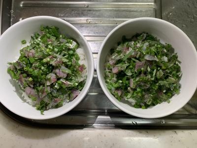 青魚の五目タタキ丼