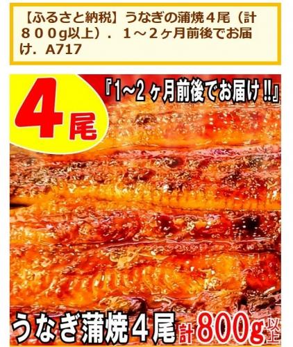ふるさと納税2021 福岡県新宮町 うなぎの蒲焼4尾 追加2