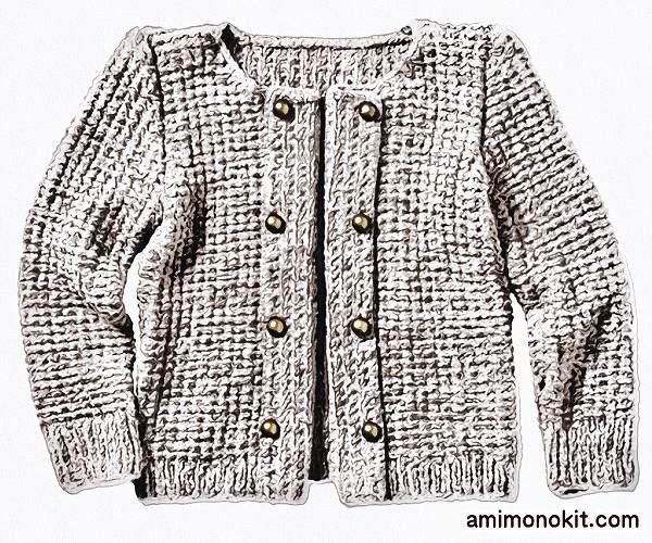 無料編み図ジャケット棒針編み秋冬ナポレオン風5