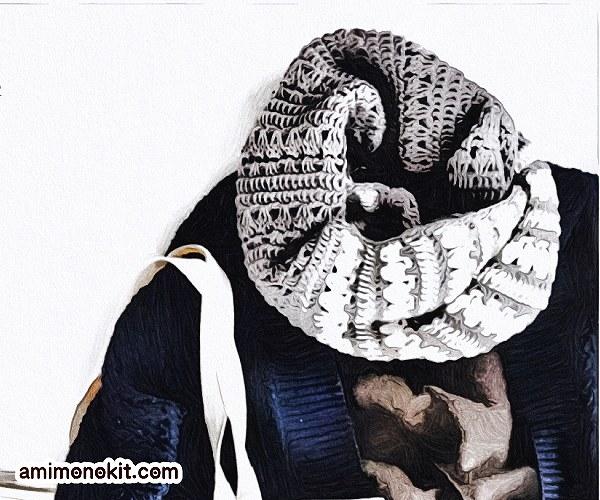 無料編み図スヌード贈り物メンズ手編み無地ボーダー1