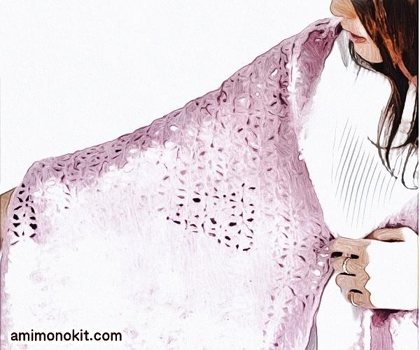 無料編み図かぎ針編みシェル模様のショール便利オーソドックス2