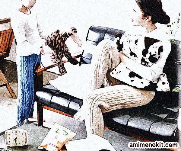 無料編み図ニットパンツ棒針編みアラン模様親子ペア1