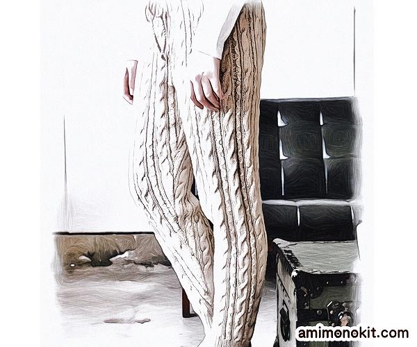 無料編み図ニットパンツ棒針編みアラン模様親子ペア3
