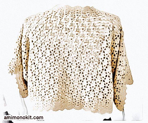 無料編み図ボレロかぎ針編みレーシー模様編みカーディガン2