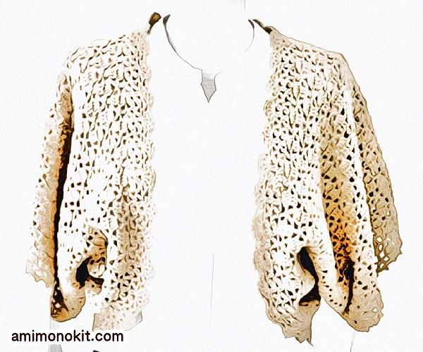 無料編み図ボレロかぎ針編みレーシー模様編みカーディガン3