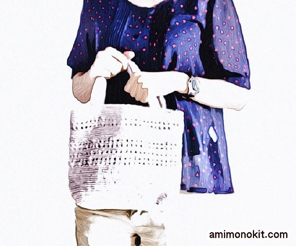 無料編み図バッグかぎ針編みエコバッグ小さいプチサイズお散歩1