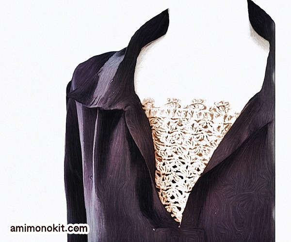 無料編み図胸元カバーちら見え胸もと手編み小物便利1