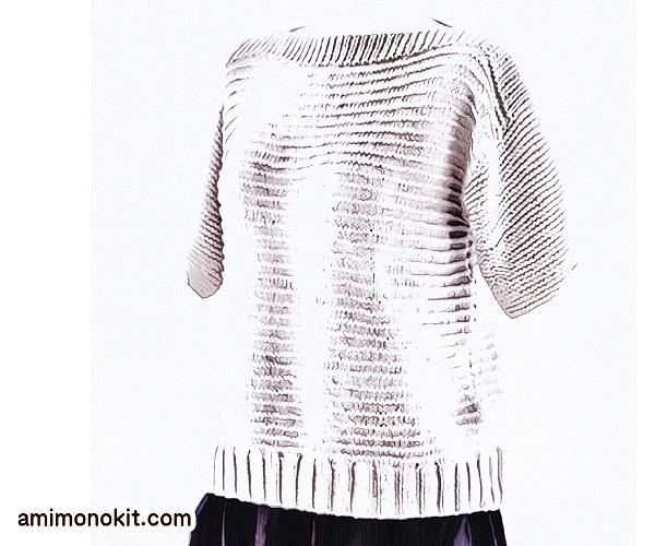 無料編み図半そでサマーセーター棒針編みシンプル綿プルオーバー1