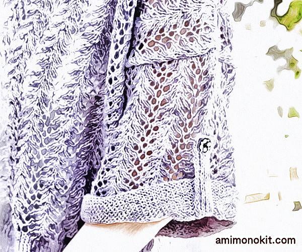 無料編み図まっすぐ編むセーター棒針編みVネック麻リネン2