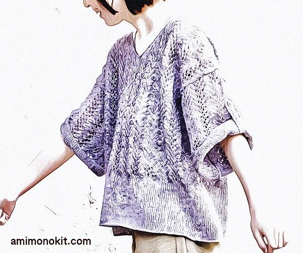 無料編み図まっすぐ編むセーター棒針編みVネック麻リネン5