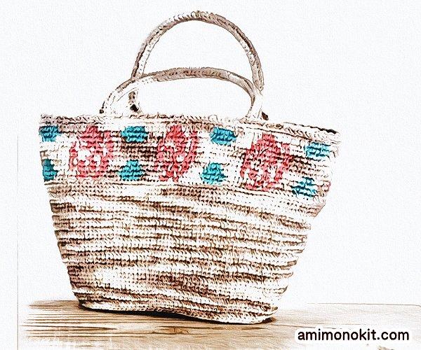 無料編み図バッグかぎ針小物バラ模様カゴバッグ手編み4