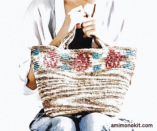 無料編み図バッグかぎ針小物バラ模様カゴバッグ手編み1