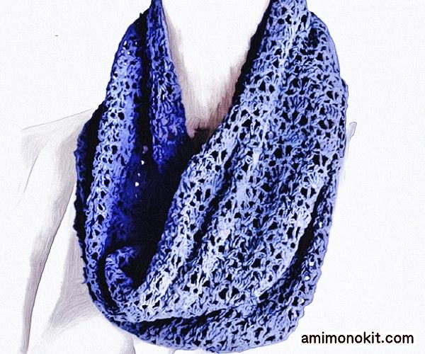 無料編み図サマースヌードかぎ針編みシルク絹1
