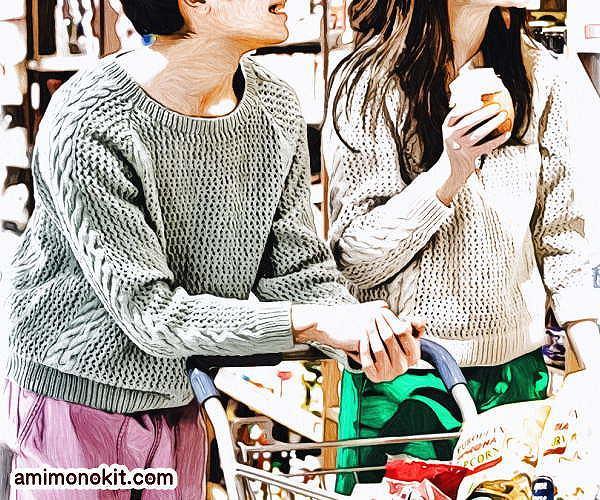 無料編み図メンズセーター春夏ペアお揃い棒針編み4