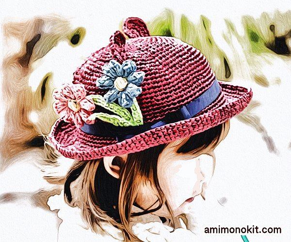 無料編み図Free Crochet Pattern帽子お揃いコーデくまみみ耳親子ペア4