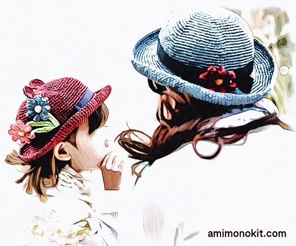 無料編み図Free Crochet Pattern帽子お揃いコーデくまみみ耳親子ペア1