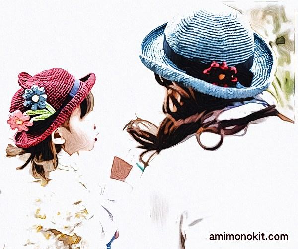無料編み図Free Crochet Pattern帽子お揃いコーデくまみみ耳親子ペア2