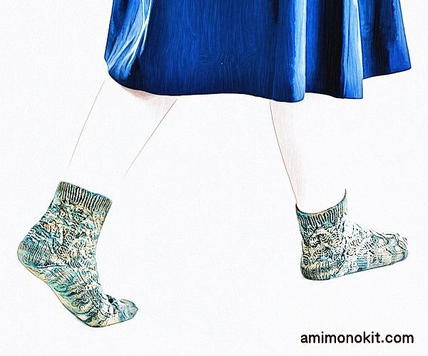 無料編み図Free Knitting Pattern靴下サマーソックス1