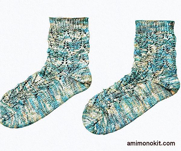 無料編み図Free Knitting Pattern靴下サマーソックス透かし模様2