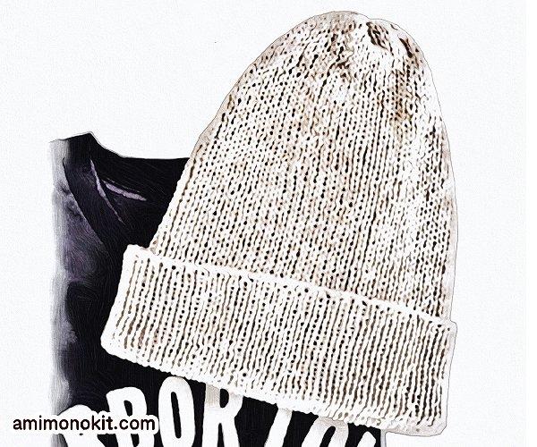 無料編み図Free Knitting Pattern帽子リブ編み1目ゴム編みニット帽1