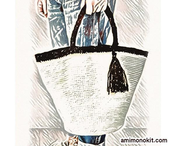 無料編み図Free Crochet Patternバッグ丸底マルシェバッグたっぷりサイズ1