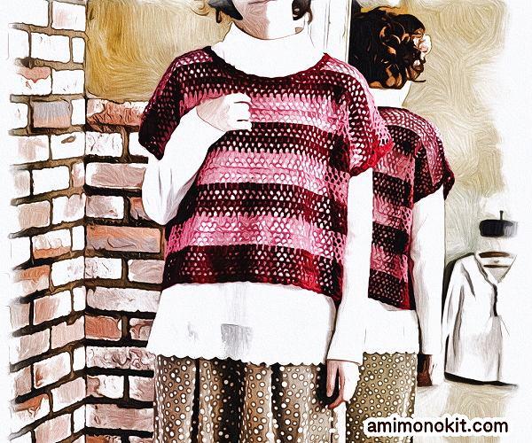 無料編み図Free Crochet Patternプル重ね着フレンチ袖サマーセーター1