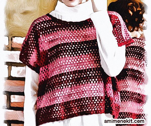 無料編み図Free Crochet Patternプル重ね着フレンチ袖サマーセーター2