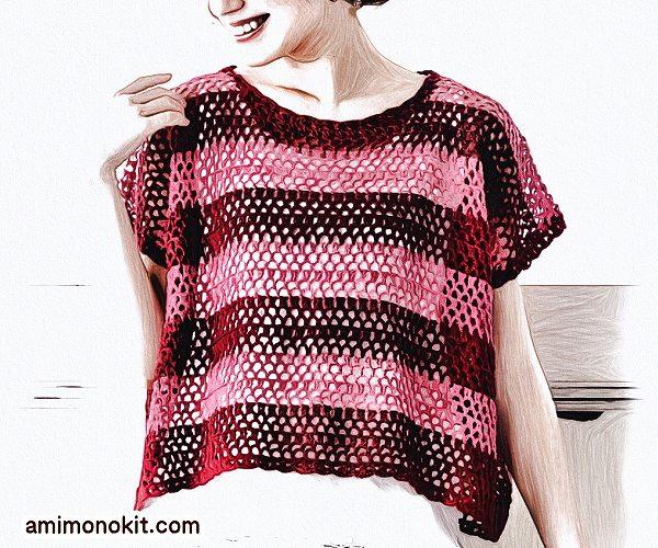 無料編み図Free Crochet Patternプル重ね着フレンチ袖サマーセーター3