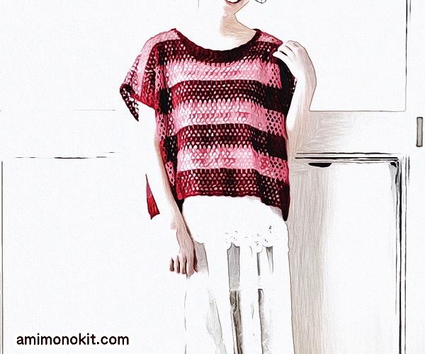 無料編み図Free Crochet Patternプル重ね着フレンチ袖サマーセーター4