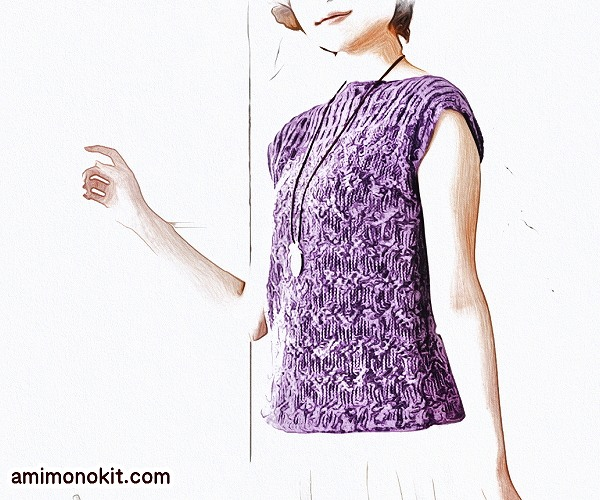 無料編み図Free Knitting Pattern棒針編みノースリーブでボートネック1