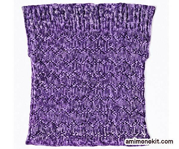 無料編み図Free Knitting Pattern棒針編みノースリーブでボートネック3