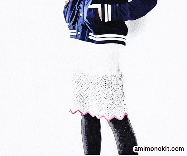 無料編み図Free Knitting Patternスカート棒針編みクラシカル透かし模様4