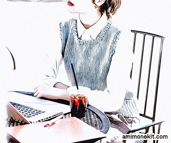 無料編み図Free Knitting Patternコットンベスト春夏綿合わせやすい手編み2