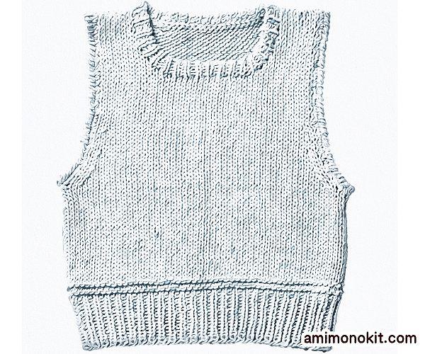 無料編み図Free Knitting Patternコットンベスト春夏綿合わせやすい手編み3