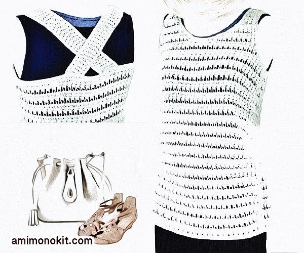 無料編み図Free Crochet Patternタンクトップかぎ針編み透かし模様ベスト1