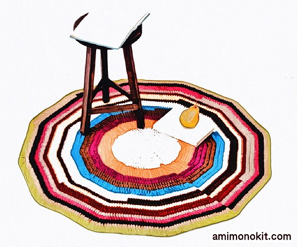 無料編み図Free Crochet Patternラグマットかぎ針編み大判インテリア雑貨1