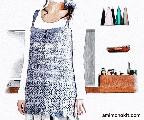無料編み図Free Crochet Pattenチュニックベストかぎ針編み春夏ワンピ1