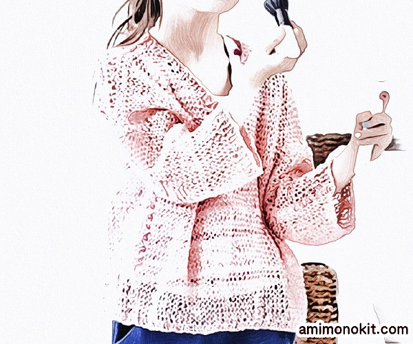 無料編み図Free Knitting Patternお揃いコーデ春夏プル長袖フレンチリネン麻2