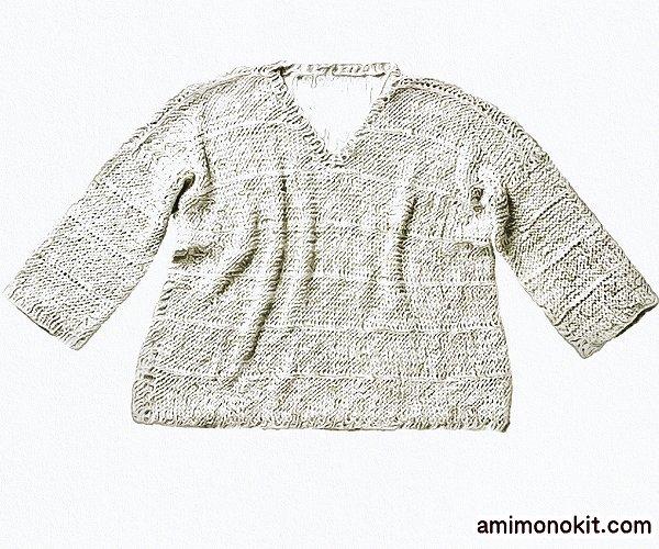 無料編み図Free Knitting Patternお揃いコーデ春夏プル長袖フレンチリネン麻5
