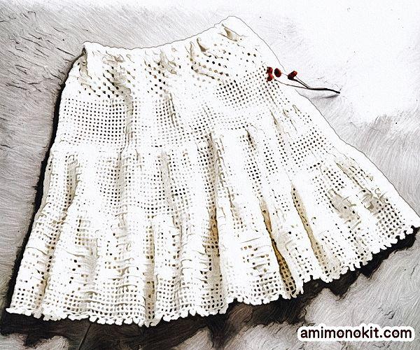 無料編み図Free Crochet Patternスカート方眼編みレーシーかぎ針編み可愛い3