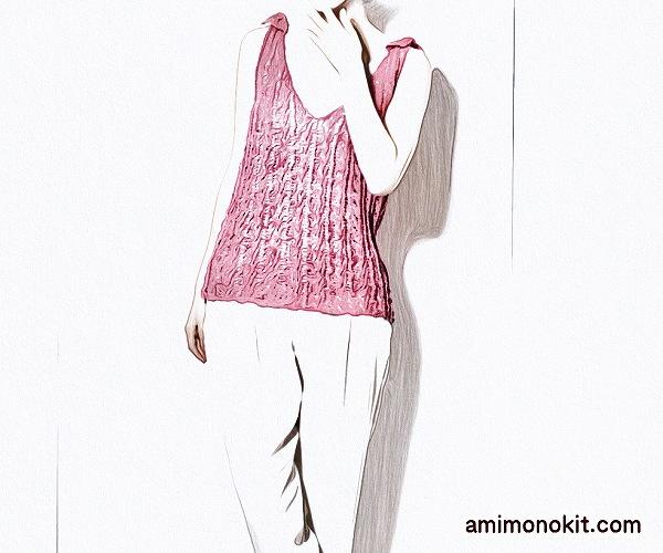 無料編み図Free Knitting Patternタンクトップ棒針編み透かし模様肩リボン可愛い4