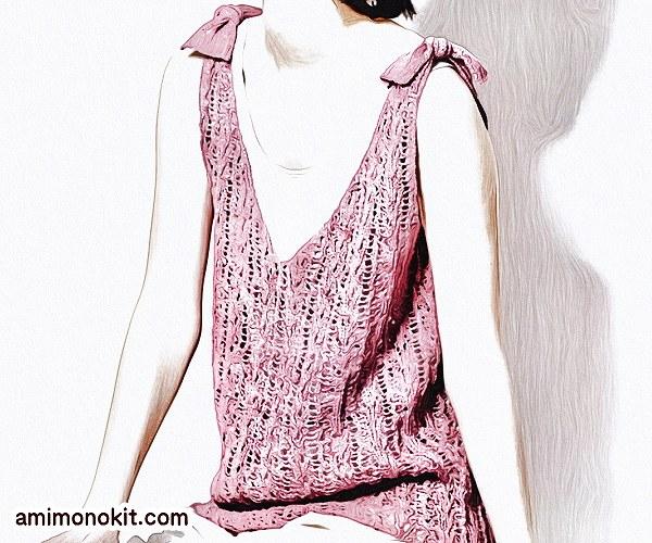 無料編み図Free Knitting Patternタンクトップ棒針編み透かし模様肩リボン可愛い1