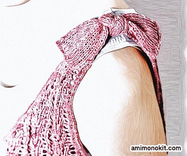 無料編み図Free Knitting Patternタンクトップ棒針編み透かし模様肩リボン可愛い3