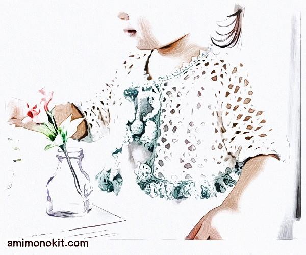 無料編み図Free Crochet Patternキッズボレロ誕生祝プレゼント贈り物かぎ針編み1