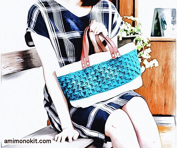 無料編み図Free Crochet Patternマルシェバッグかぎ針編みたっぷりサイズ合皮持ち手2