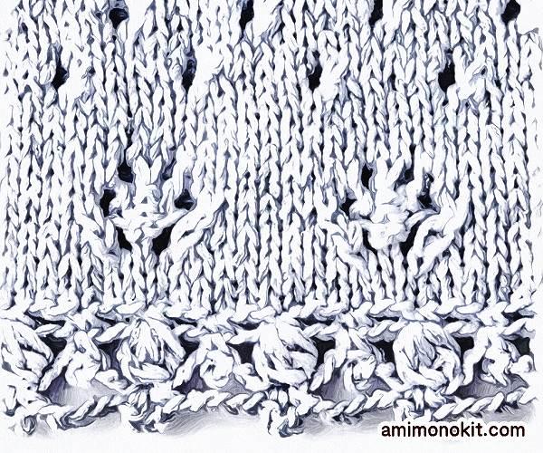 無料編み図Free Knitting Patternチュニック棒針編みリボンがガーリーなベスト3