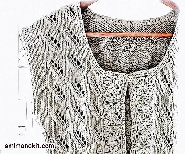 無料編み図Free Knitting Patternカーディガン棒針編みボレロ春夏3