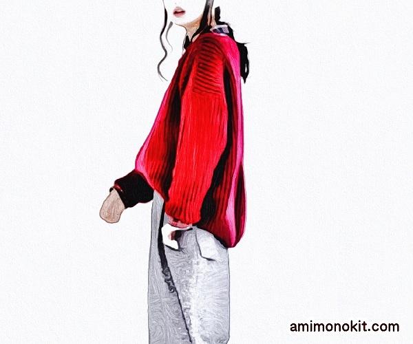 無料編み図Free Knitting Patternセーター棒針編みドロップショルダーゆったり2
