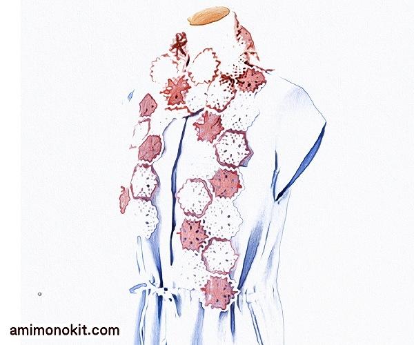 無料編み図Free Crochet Patternショールかぎ針編みモチーフつなぎストール1
