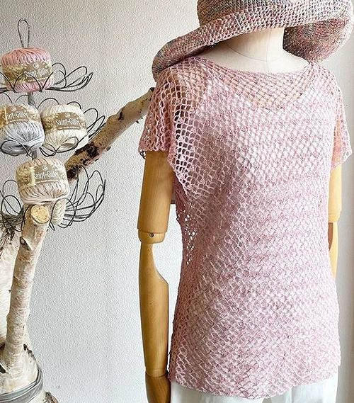 編み物キット綿麻かぎ針編みパピーサンジルレーシー半そでセーター